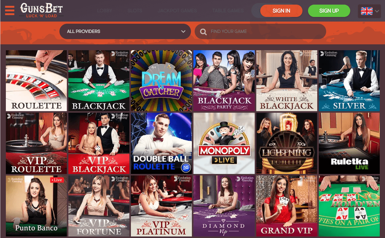 Games With Live Dealers at Gunsbet Casino