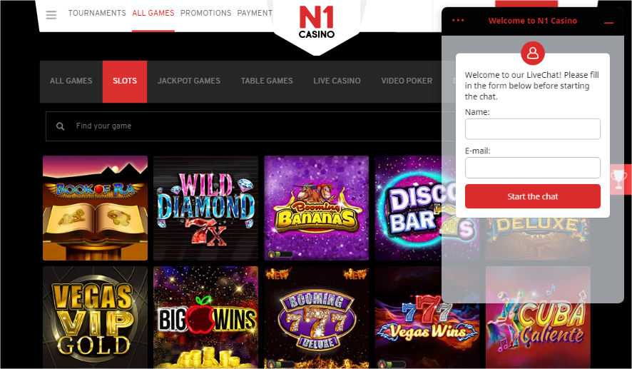 N1 Casino - live chat support
