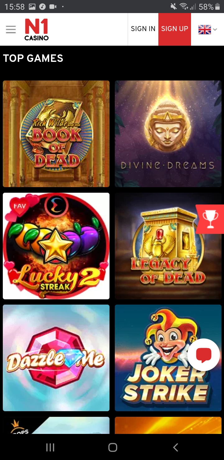 Slots at Mobile version