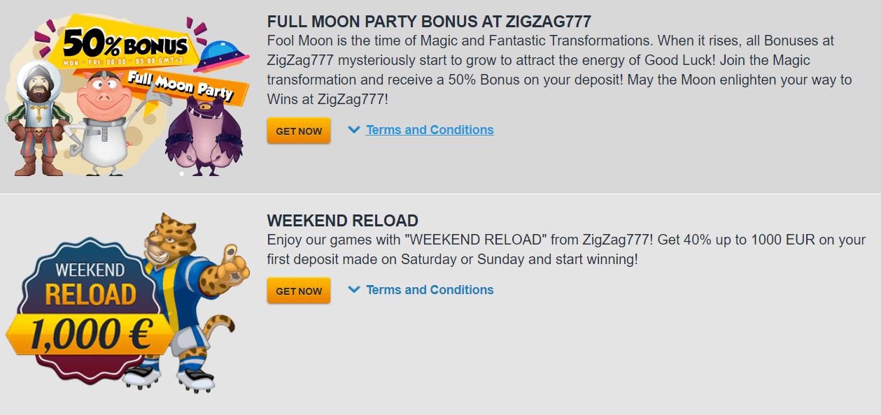 Weekly And Daily bonuses At ZigZag 777