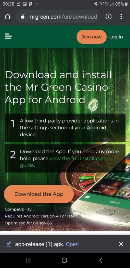 Application has been downloaded